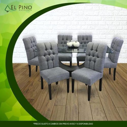 Comedor Genova de 6 sillas - Tablero de vidrio